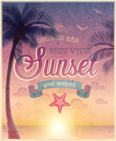 Lounge Bar poster illustration. Vector