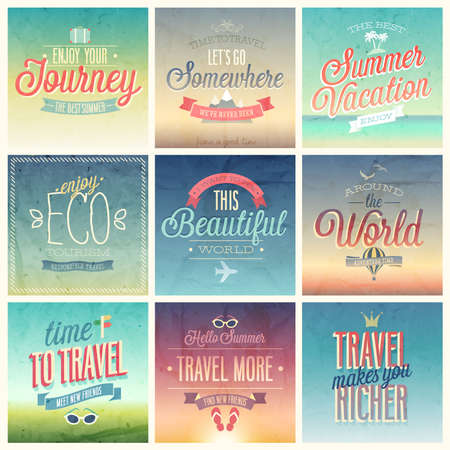 Travel set - labels and emblems.