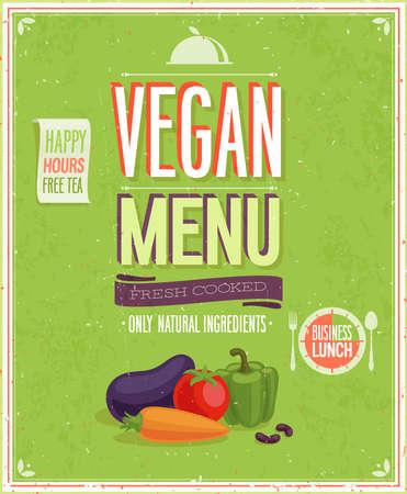 Vintage Vegan Menu Poster illustration. Vector