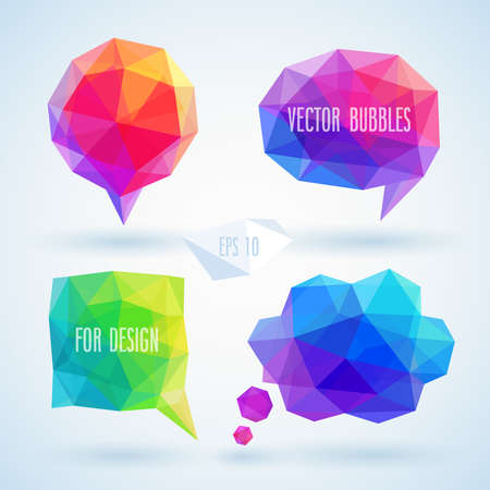 Colorful geometric bubbles for speech.