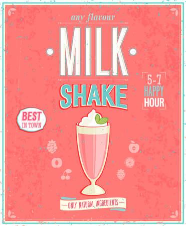 frutillas: Cartel MilkShake Vintage. Vectores