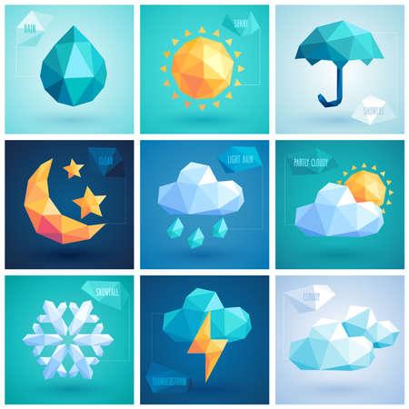 forecast: Weather set - geometric icons.  Illustration