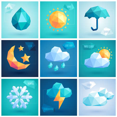 Weather set - geometric icons.  Иллюстрация