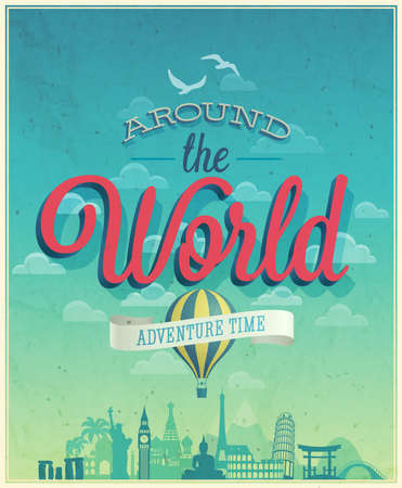 Around the world poster.  Illustration