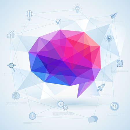 speech icon: Colorful geometric bubble for speech. Illustration