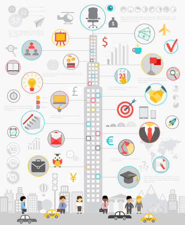 kavram ve fikirleri: İş Infographic çizelgeleri ve diğer unsurları ile set. Çizim