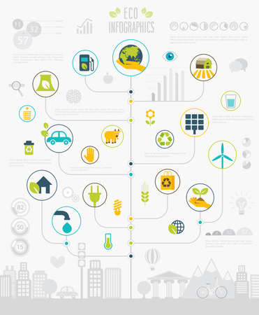 Ecology Infographic set with charts and icons. Vector