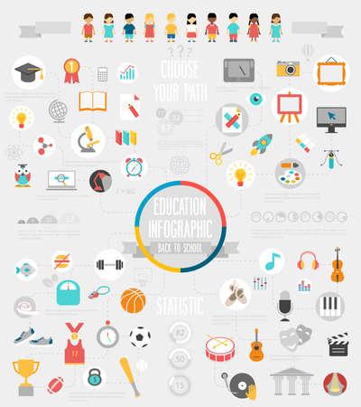 escuelas: Educaci�n Infograf�a conjunto con gr�ficos y otros elementos. Vectores