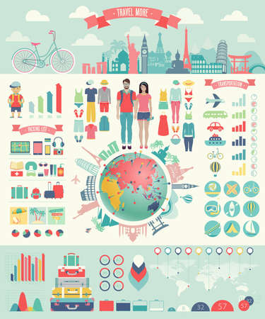 Travel Infographic set with charts and other elements.  Çizim