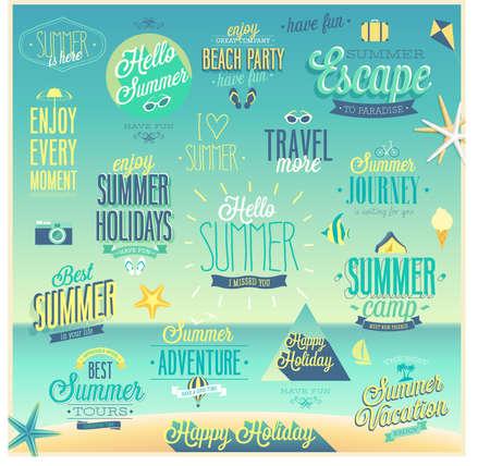 Summer and Travel set - labels and emblems. Illustration