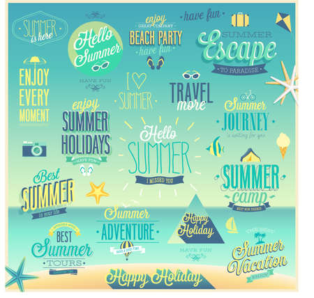 Summer and Travel set - labels and emblems. Ilustração