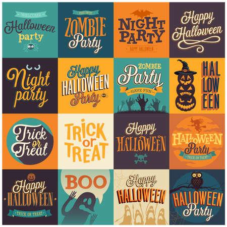 Halloween emblems set. Vector illustration. Vector