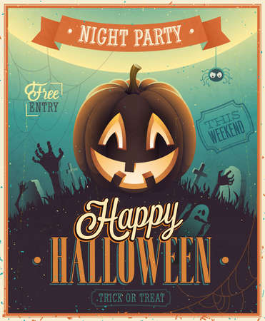 halloween background: Happy Halloween Poster. Vector illustration.