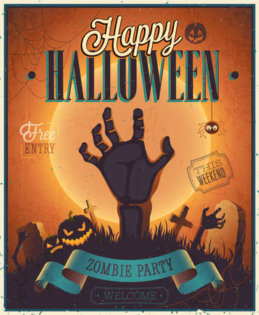 zombie: Halloween Zombie Party Poster. Vector illustration.