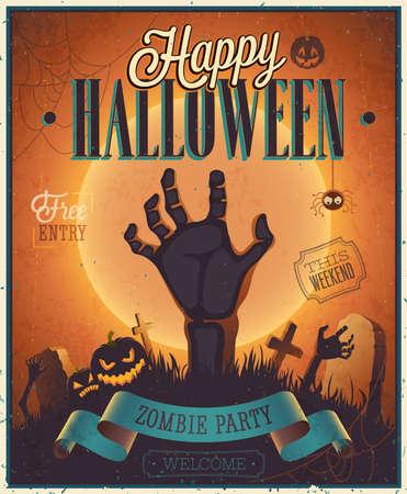 halloween party: Poster van Halloween Zombie Partij. Vector illustratie.