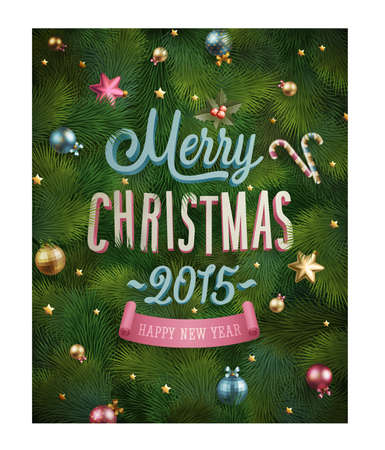 ChristmaChristmas poster with fir tree texture and baubles.  Vector