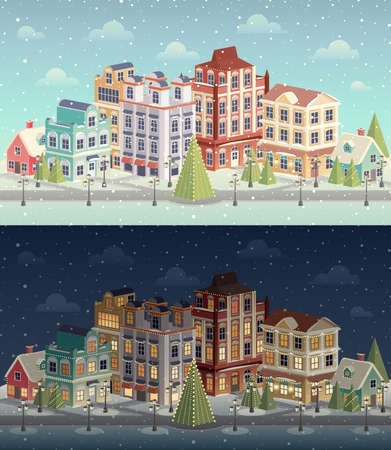 Christmas vintage cityscape and snowfall.  Vector