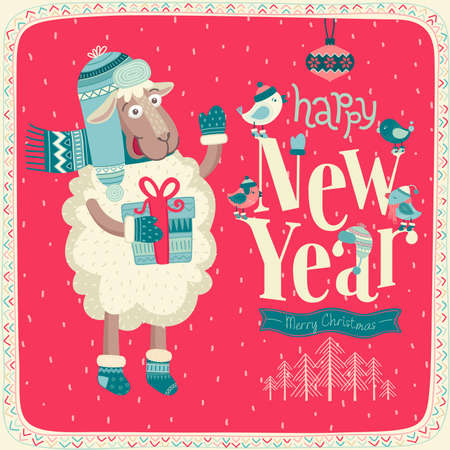 New Year card. Çizim