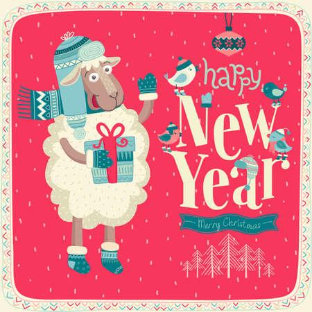 New Year card. Illustration