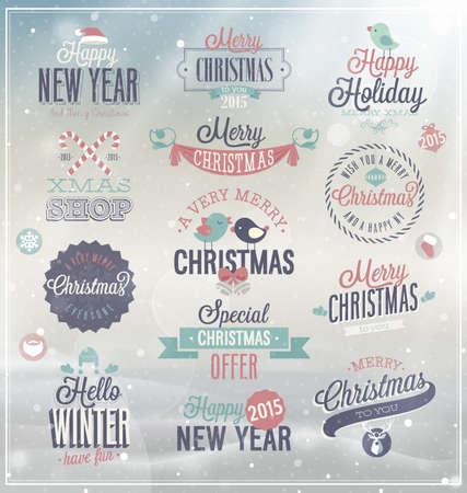 tipografia: Conjunto de la Navidad - etiquetas, emblemas y otros elementos decorativos.