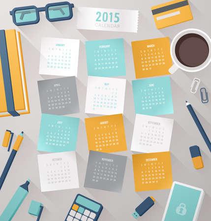dise�os: Calendario 2015 con la plantilla de vectores elementos del lugar de trabajo. Vectores