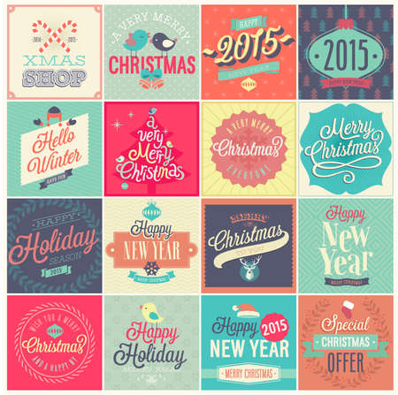 happy: Christmas set - labels, emblems and other decorative elements. Illustration
