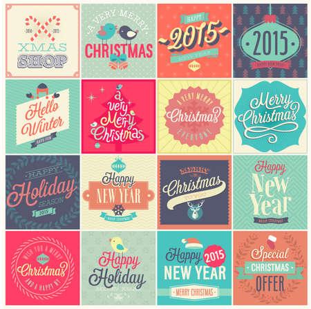 label retro: Conjunto de la Navidad - etiquetas, emblemas y otros elementos decorativos.