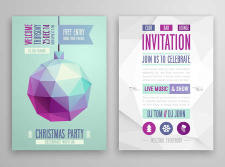 Christmas flyer - geometric stile. VEctor illustration. Vector