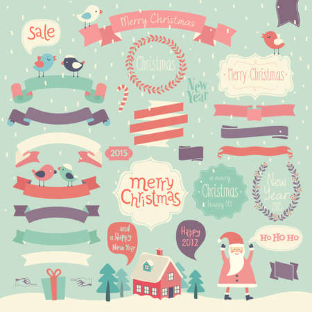 Christmas set - ribbons and other decorative elements. Vector