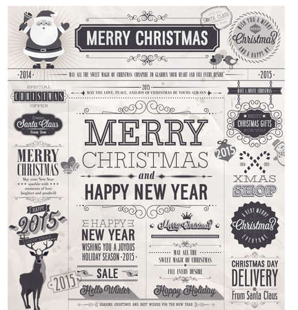 Christmas set - labels, emblems and other decorative elements. Newspaper stile. Vector