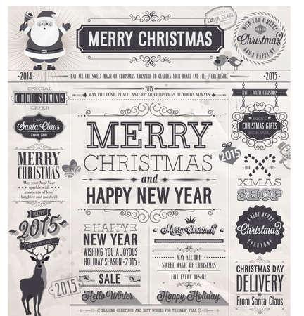 Christmas set - labels, emblems and other decorative elements. Newspaper stile.
