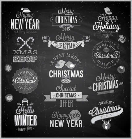 Christmas set - labels, emblems and other decorative elements - Chalkboard. Vector
