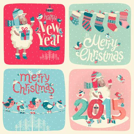 Kerst set - etiketten, emblemen en andere decoratieve elementen. Stock Illustratie