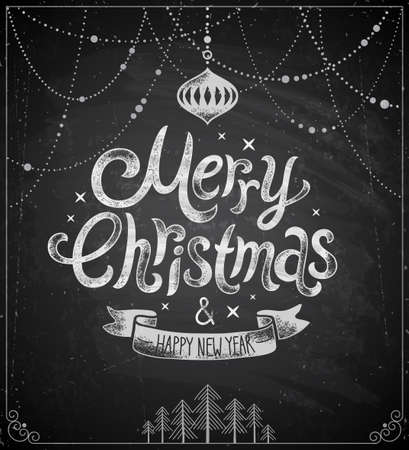 Christmas poster - Chalkboard style. Vector illustration. Vector