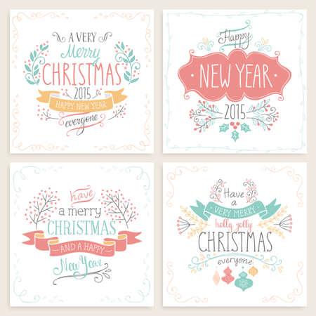 Kerst hand getekende kaart set. Vector illustratie.