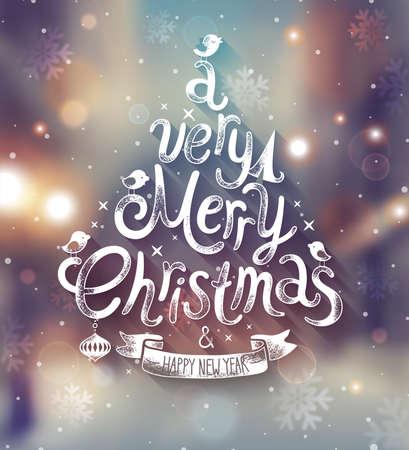 Kerstkaart met onscherpe achtergrond. Vector illustratie. Stock Illustratie