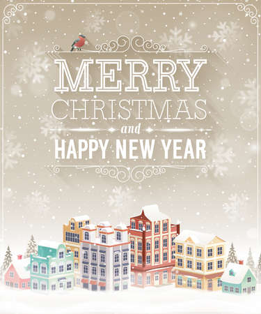 Christmas card with cityscape and snowfall. Vector illustration. Ilustracja