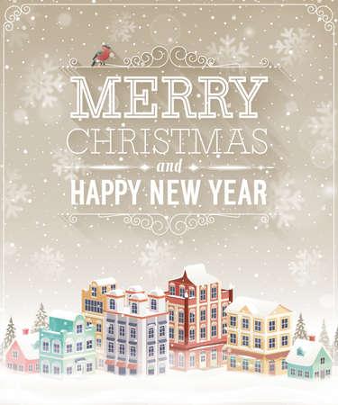 Kerstkaart met stadsbeeld en sneeuwval. Vector illustratie. Stock Illustratie