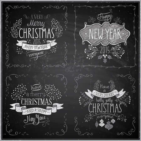 cartoon new: Christmas hand drawn card set - Chalkboard. Vector illustration.