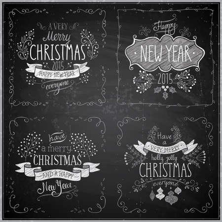 Kerst hand getekende kaart set - Schoolbord. Vector illustratie.
