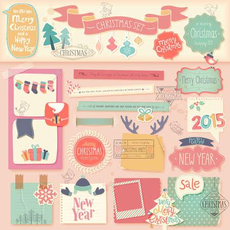 Christmas scrapbook set - decorative elements. Vector illustration. Vector
