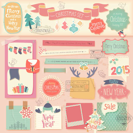 Christmas scrapbook set - decorative elements. Vector illustration. Vector