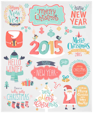 Christmas set - labels, emblems and other decorative elements. Vector illustration. Vector