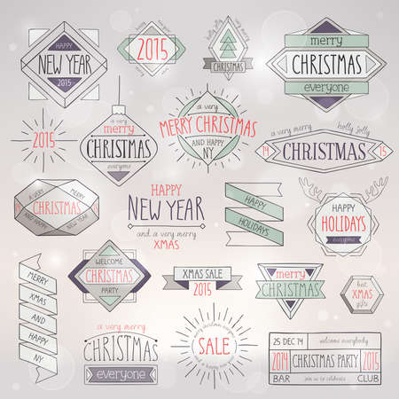 Christmas hand drawn card set. Vector illustration. Vector