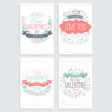 Valentine`s Day hand drawn card set. Vector illustration.