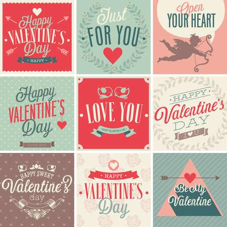 Valentine`s day card set. Vector illustration. Vector