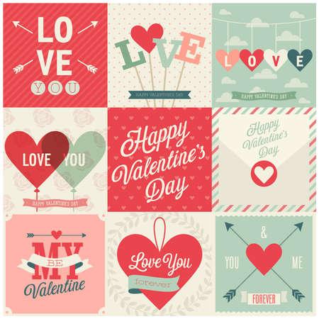 Valentijnsdag set - emblemen en kaarten. Vector illustratie.