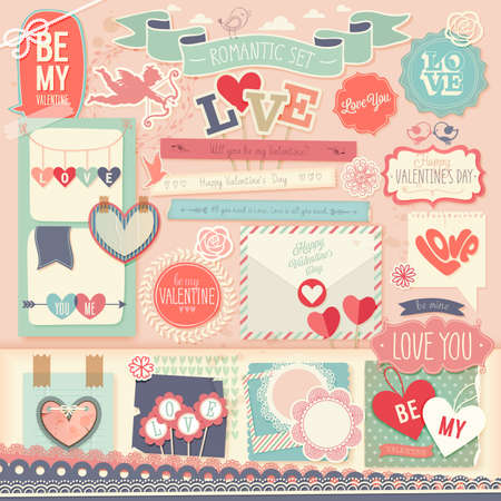 Valentine`s Day scrapbook set - decorative elements. Vector illustration.