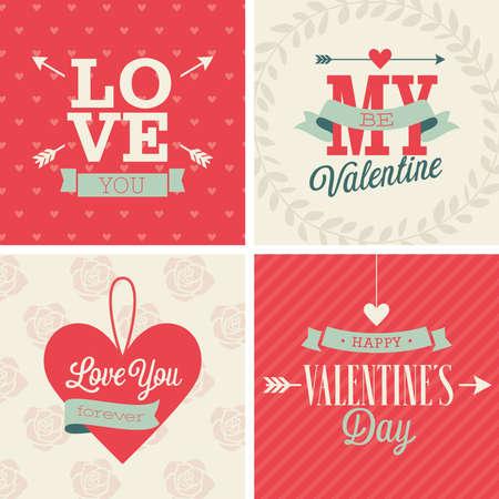 Valentine`s day set - four cards. Vector illustration. Vector