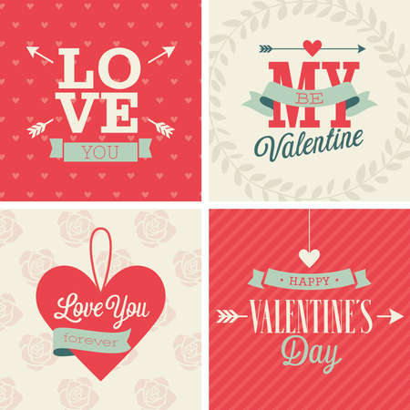 Valentine`s day set - four cards. Vector illustration.